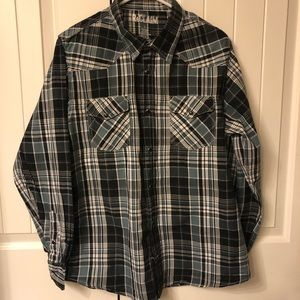 Long Sleeve Plaid Shirt with Pearl Snaps